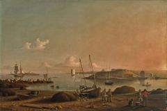 """Obj. No. 62.32 Fitz Henry Lane (American, 1804–1865) View of Gloucester Harbor, 1848 Oil on canvas on panel 27""""H x 41""""W 68.58 cm x 127 cm Signed and dated lower right, F. H. Lane / Jan '1848 Image must be credited with the following collection and photo credit lines: Virginia Museum of Fine Arts, Richmond. Adolph D. and Wilkins C. Williams Fund. Photo: Katherine Wetzel       © Virginia Museum of Fine Arts"""