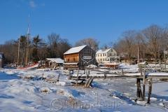 Burnham Boat Building in Snow