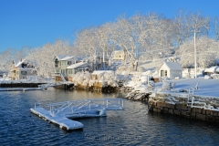 Dock & Houses in March Snows
