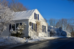 Blue Shutters in February Snows