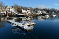 Harbor Docks in Melting Snow