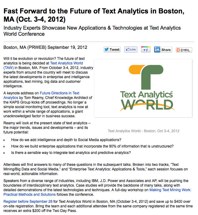 Text Analytics Press Release