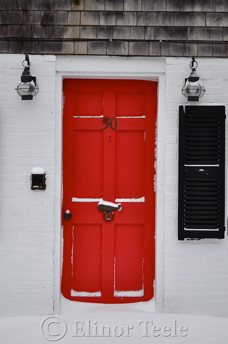 Red Door, Annisquam in the Snow