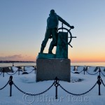 Fisherman's Memorial in the Snow, Gloucester MA