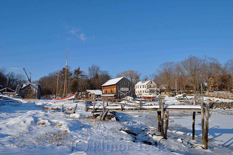 Burnham Boat Building, February Snow, Essex MA