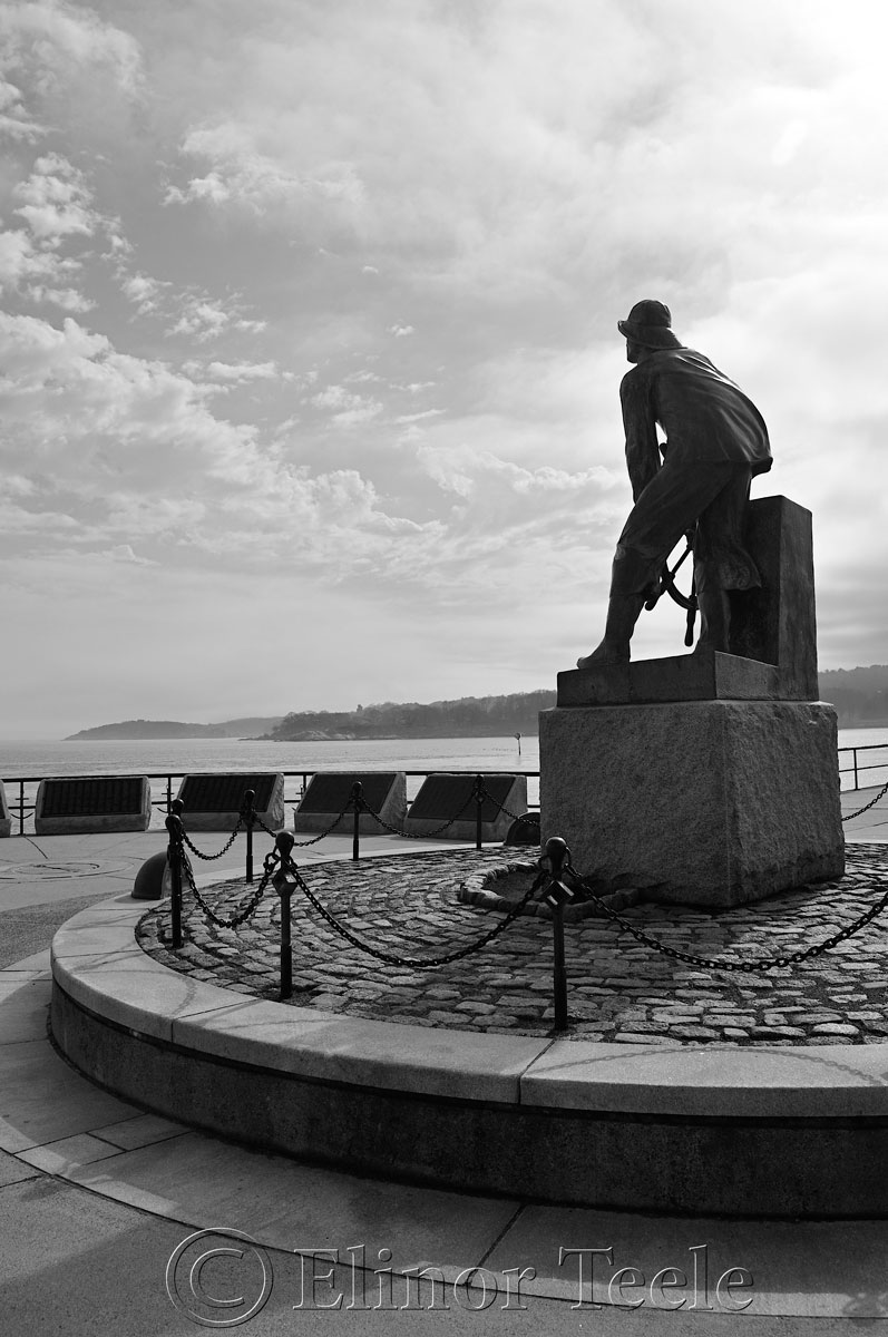 Man at the Wheel - Black and White, Gloucester MA