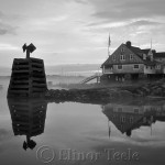 Annisquam Yacht Club in the Fog (Black and White)