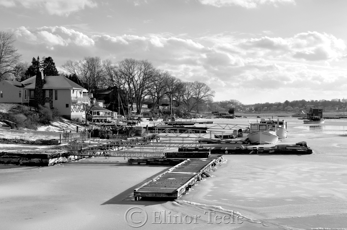 Annisquam Harbor Iced In – Black and White