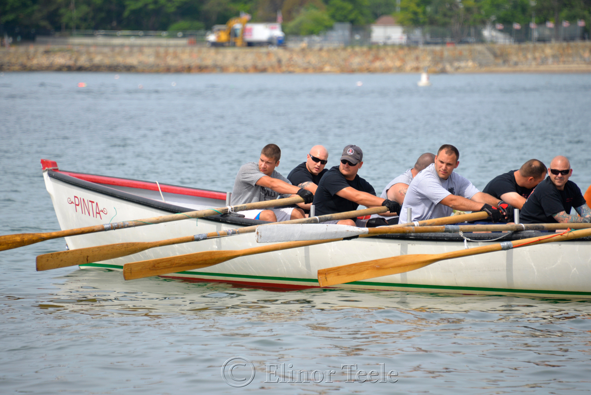 Eyeing the Competition, Coast Guard, Saturday Seine Boat Races, Fiesta 2015, Gloucester MA