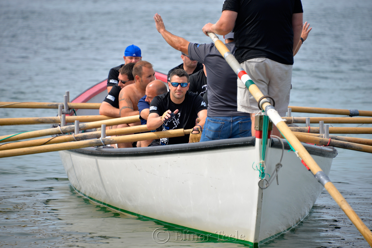 Waving to Supporters, Police Department, Saturday Seine Boat Races, Fiesta 2015, Gloucester MA
