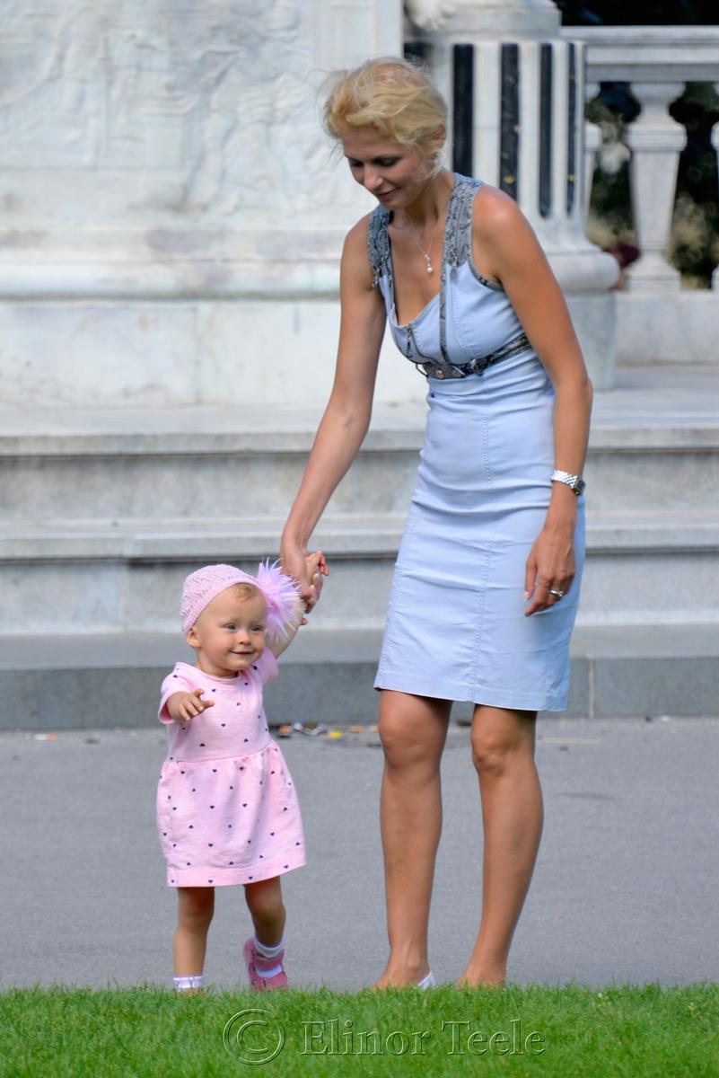 Mother & Daughter, Mozart's Statue, Burggarten, Vienna, Austria