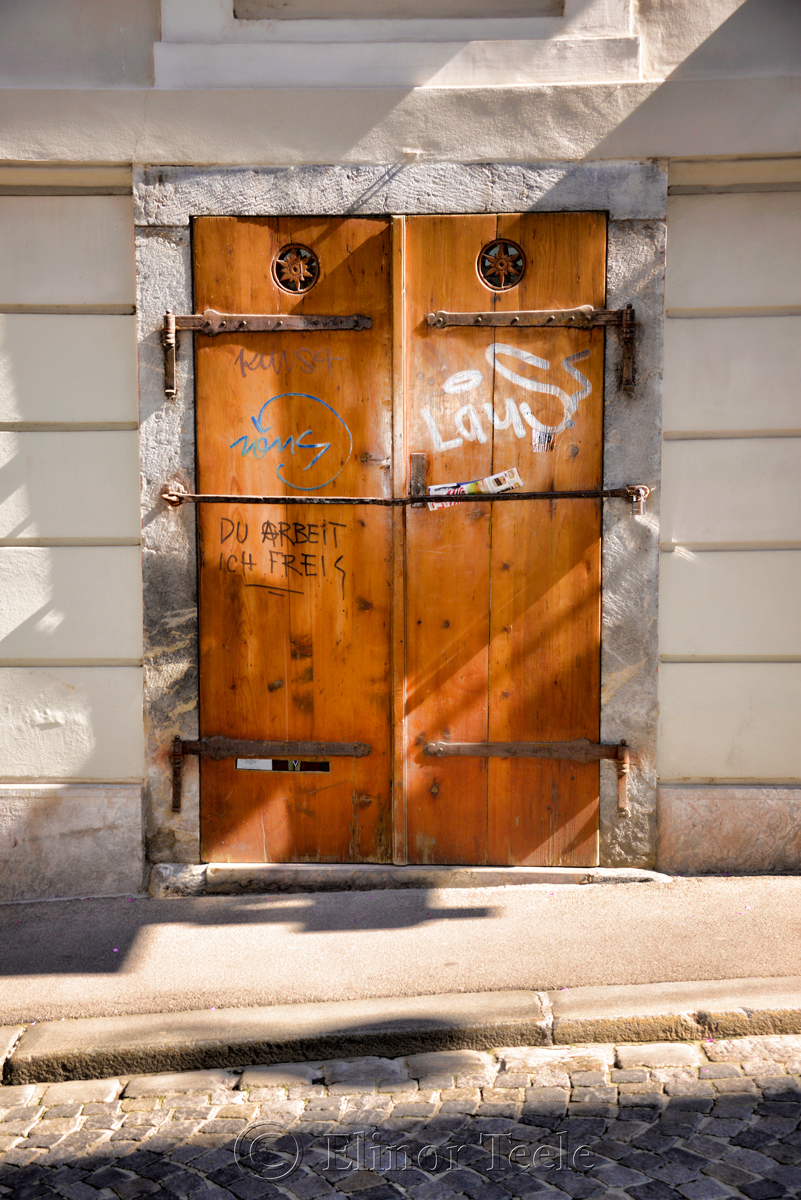 Wooden Door, Graffiti, Graz, Austria