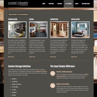 Custom Closets Website