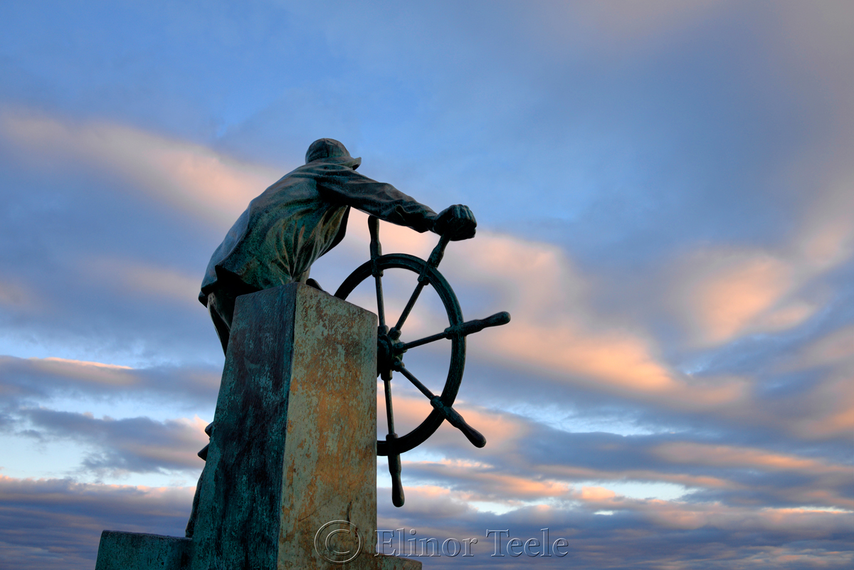Fisherman's Memorial (Man at the Wheel) - December, Gloucester MA