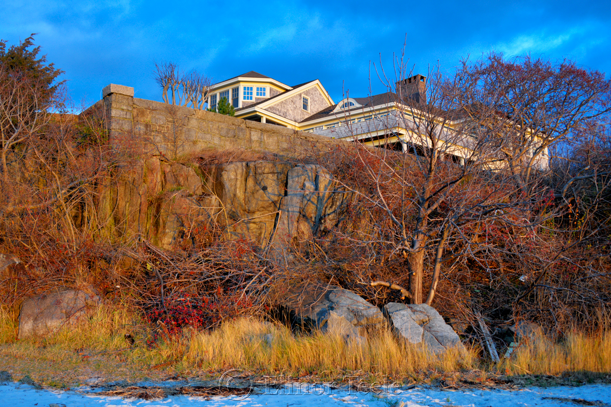 Stone Wall & House – December Light, Annisquam MA