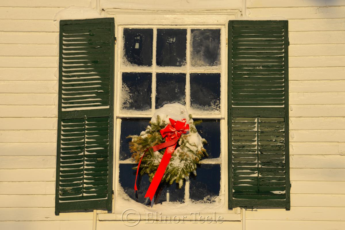 Village Hall Wreath - January Snow