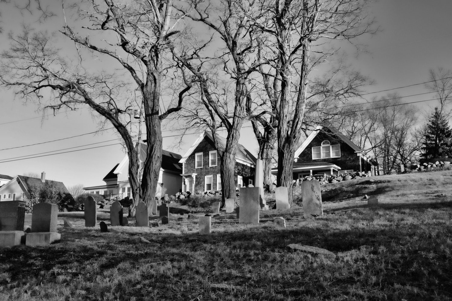 Bay View Cemetery in Winter - Black & White, Gloucester MA