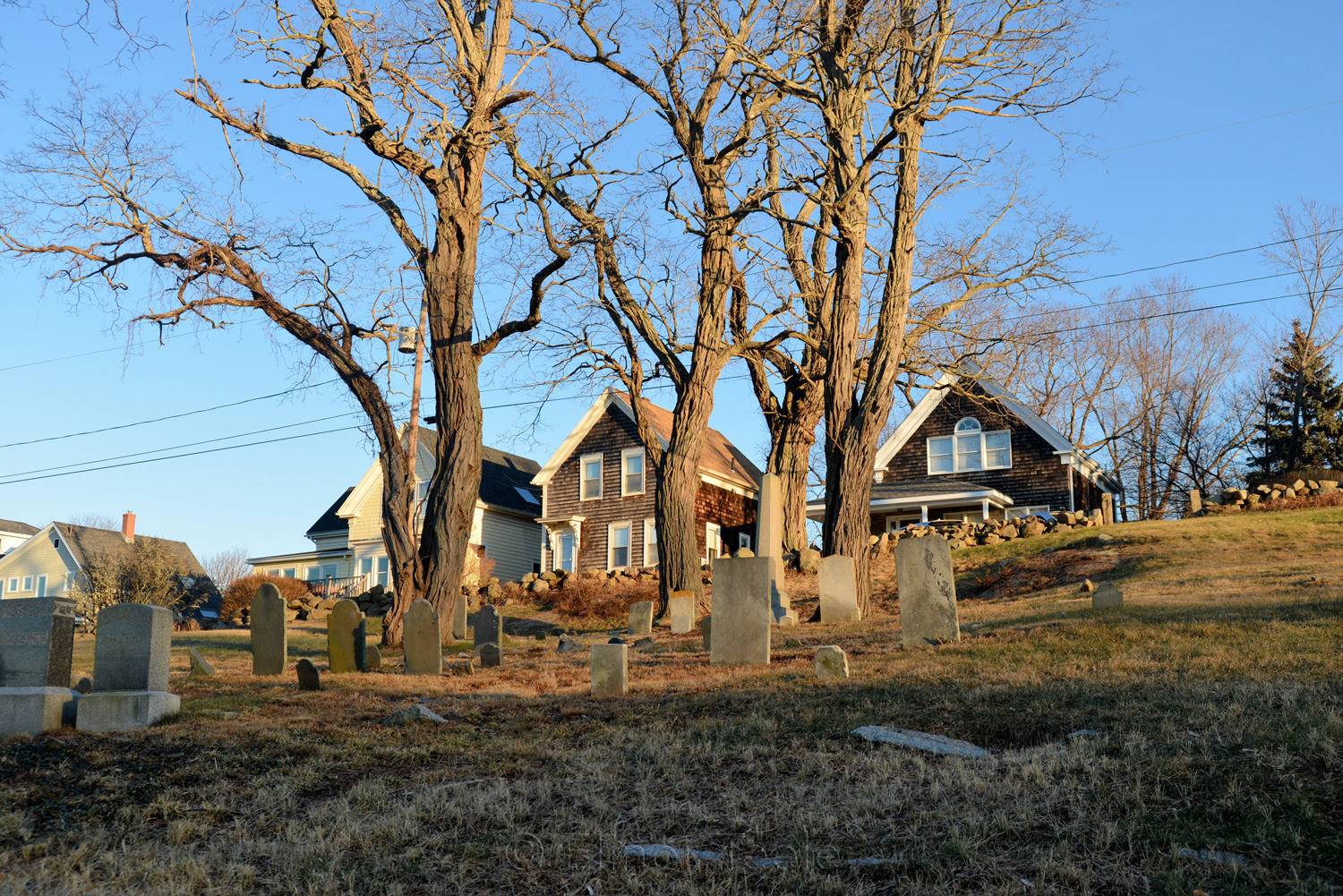 Bay View Cemetery in Winter - Color, Gloucester MA