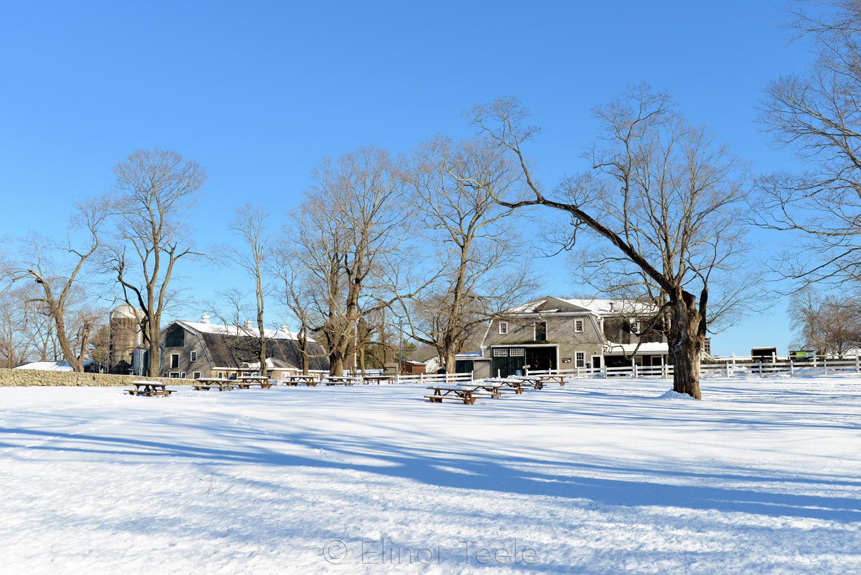 Carriage Barn & Stone Paddock in Winter - Appleton Farms