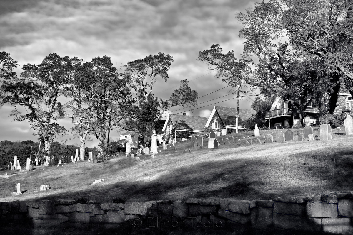 Bay View Cemetery in October - Black & White, Lanesville MA