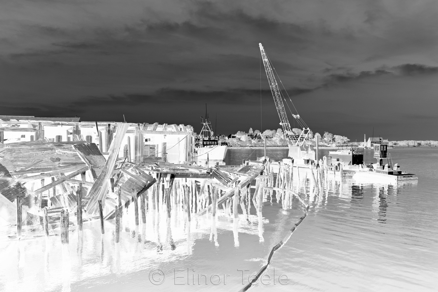 Gloucester Waterfront - Black & White Abstract