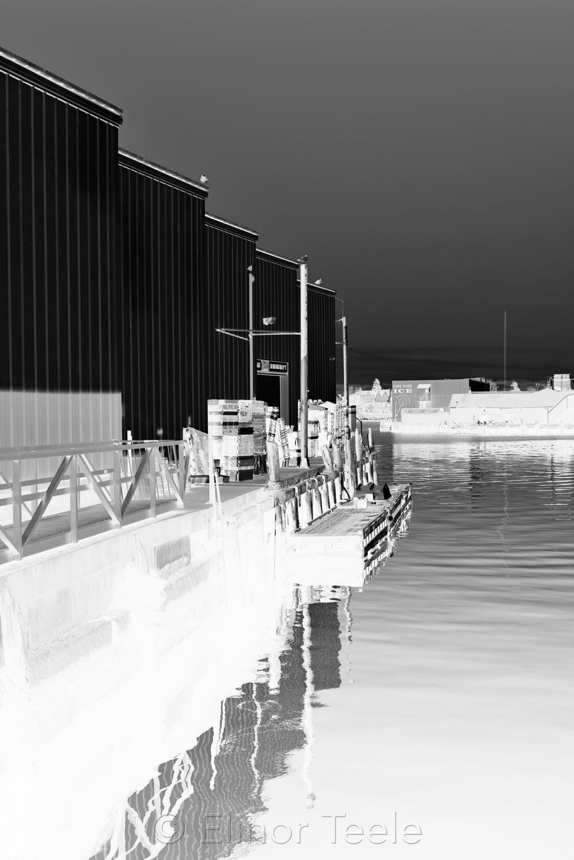 Gloucester Harbor Warehouses - Black & White Abstract